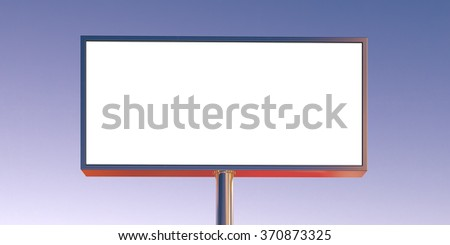 Blank billboard made of chrome metal at sunset time ready for advertisement. Wide, front view. 3d render - stock photo