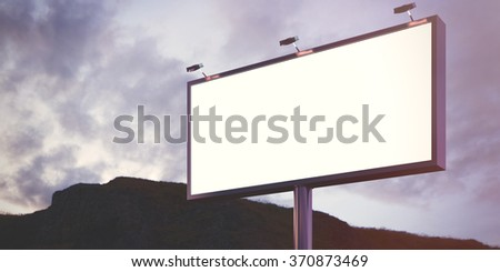 Blank billboard made of chrome metal at twilight ready for your advertisement. Flare effect. 3d render - stock photo