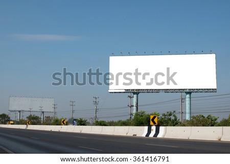 blank billboard near highway - stock photo