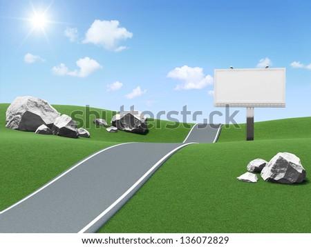 Blank Billboard near the asphalted road on beautiful landscape background - stock photo