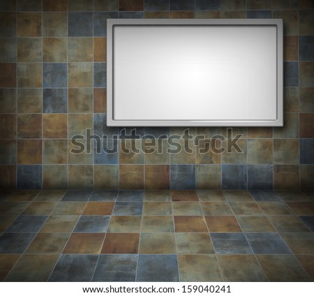Blank billboard on a colorful tiled wall background
