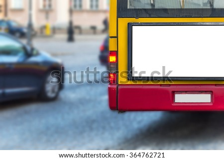 Blank billboard on back of a bus for your advertising - stock photo