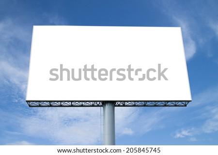 Blank billboard on blue sky - stock photo