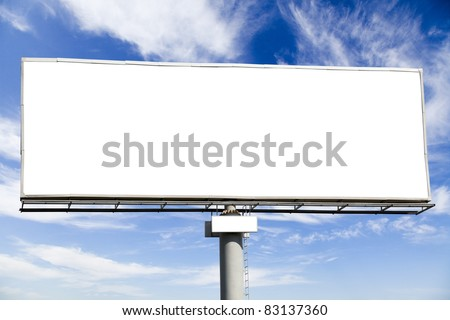 Blank billboard on blue sky, put your logo on advertising on it
