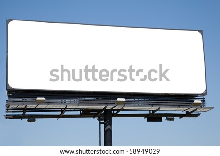 Blank billboard on blue sky ready for your advertisement - stock photo
