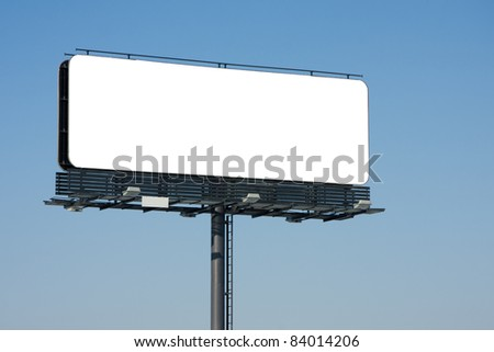 Blank billboard on blue sky to place your logo or advertising on it