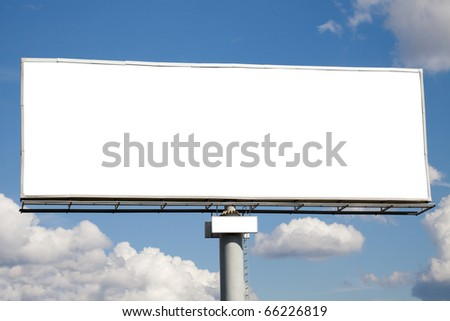 Blank billboard on blue sky with clouds. Useful for your advertisement - stock photo