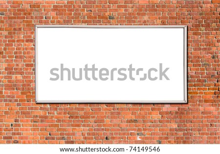 Blank billboard on brick wall for your advertisement - stock photo