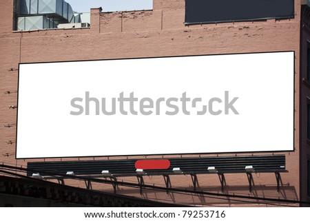 Blank Billboard on brick wall in the city - stock photo