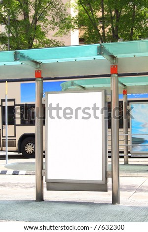 Blank billboard on bus stop - stock photo