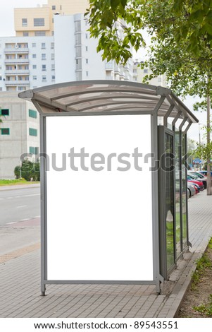 Blank billboard on bus stop for your advertising - stock photo
