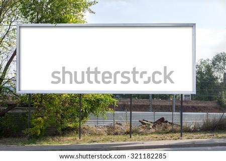 Blank billboard on City - stock photo
