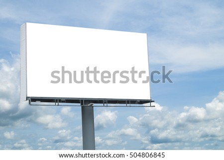 Blank billboard  on cloud sky background for your advertisement