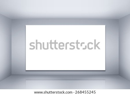 Blank billboard on empty wall with lights - stock photo