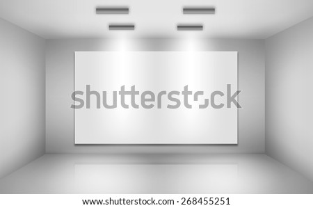Blank billboard on empty wall with lights