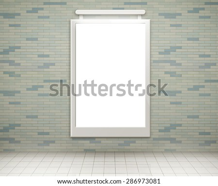 Blank billboard on empty wall with lights (city adverts) - stock photo