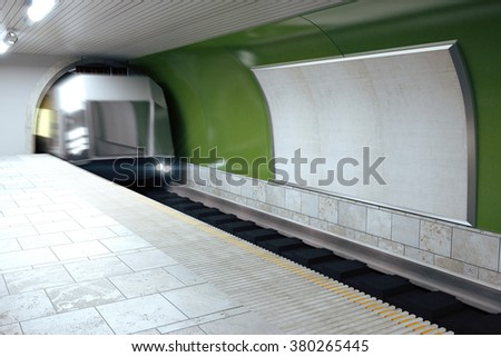Blank billboard on green subway wall and mooving train, mock up 3D Render - stock photo