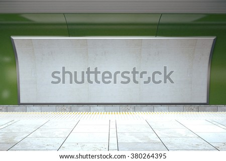 Blank billboard on green subway wall in empty hall, mock up 3D Render - stock photo