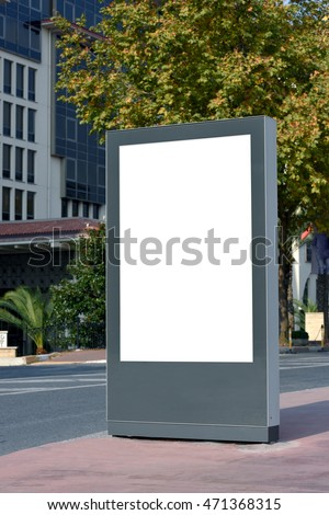 Blank billboard on street with clipping path.