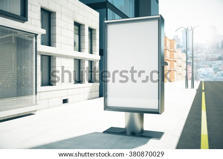Blank billboard on sunny city street, mock up 3D Render - stock photo