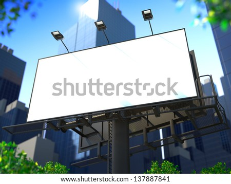 Blank Billboard on the Background of a Modern Business Center for Your Advertisement. - stock photo