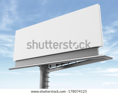 Blank billboard on the background of clouds - stock photo