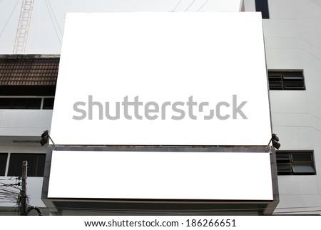 Blank billboard on the building. - stock photo