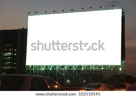 blank billboard on the night - stock photo