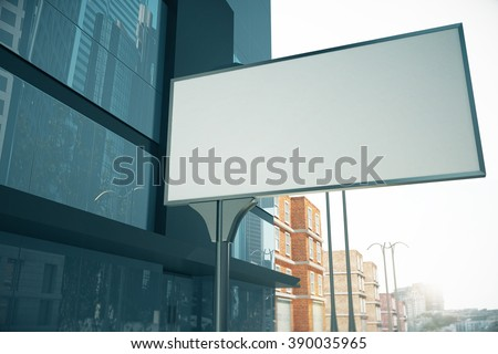 Blank billboard on the street next to business center, mock up, 3D Render - stock photo