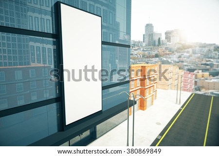 Blank billboard on the wall of  business center, mock up 3D Render - stock photo