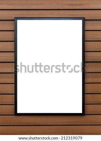 blank billboard on the wooden wall - stock photo