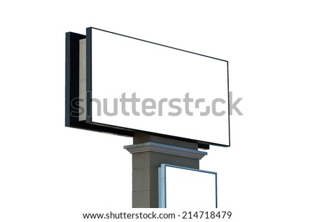 Blank billboard on white background