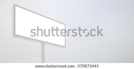 Blank billboard on white background, wide. Ready for new advertisement.  3d render - stock photo