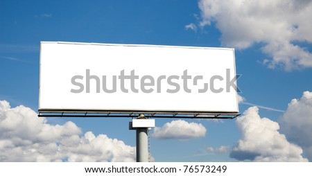 Blank billboard on wide blue sky for your advertisement - stock photo