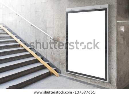 Blank billboard or poster located in underground hall useful for your advertising - stock photo