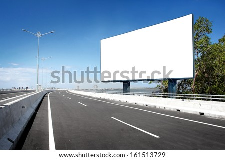 blank billboard or road sign on the highway - stock photo