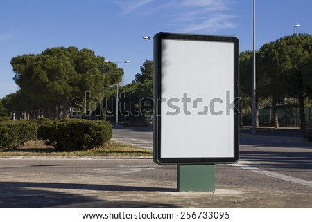 Blank billboard outdoors, in a public zone