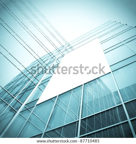 blank billboard over glassy building texture
