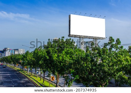 Blank Billboard ready for new Advertisement on Blue Sky.