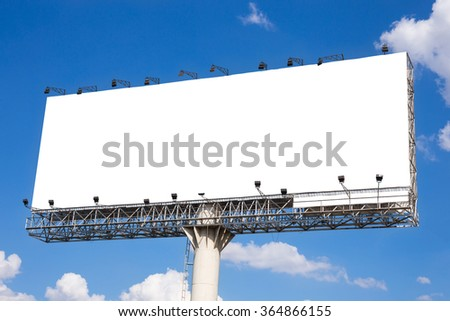 Blank billboard ready for new advertisement with blue sky background - stock photo