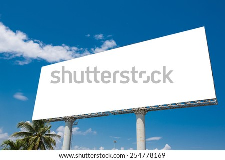 Blank billboard ready for new advertisement. With clipping path. - stock photo