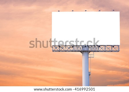 Blank billboard ready for new advertisement with sunset background. - stock photo