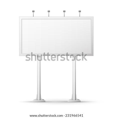 Blank billboard screen, isolated on white - stock photo
