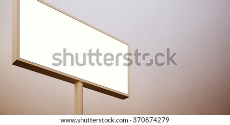 Blank billboard sign in sunset sky. Wide, abstract background. 3d render - stock photo