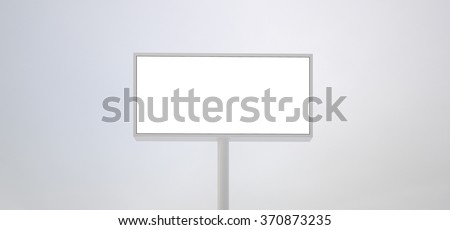 Blank billboard sign, white background. Ready for new advertisement. Wide,front view. 3d render - stock photo