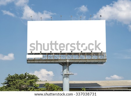 Blank Billboard Template in Bangkok, Thailand with clipping path