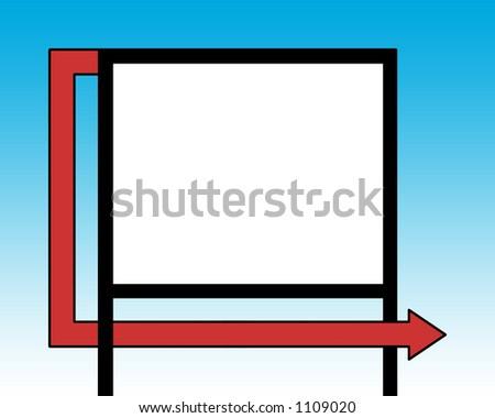 Blank billboard with arrow - stock photo