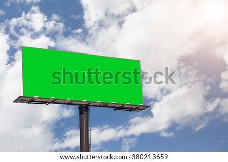 Blank billboard with blue sky. - stock photo