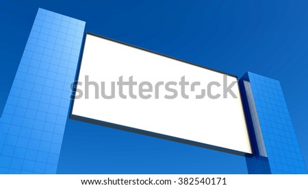 Blank billboard with buildings - stock photo