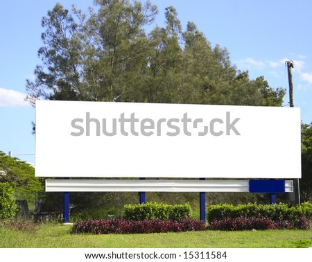 Blank billboard with clipping path - stock photo